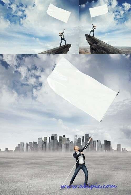 دانلود تصاویر استوک مرد با پرچم سفید HQ Images White Flag