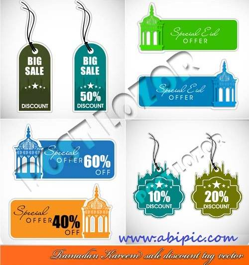دانلود وکتور لیبل های فروش و حراج با طرح مخصوص ماه مبارک رمضان Ramazan sale discount tag vector