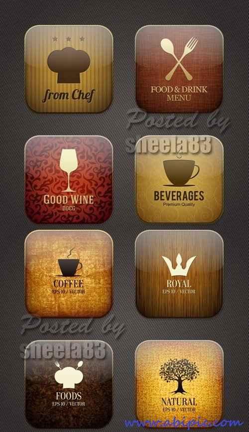 دانلود وکتور آیکون های غذا و نوشیدنی اپلیکشن ها Food & Drink Applicaion Icons Vector