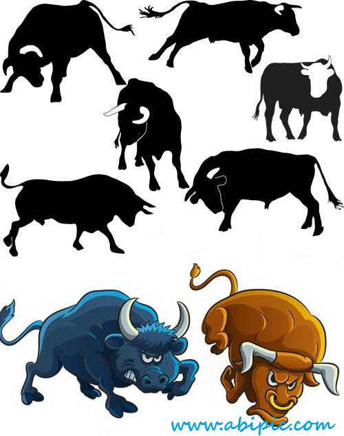 دانلود وکتور گاوهای نر Vectors Various Bulls
