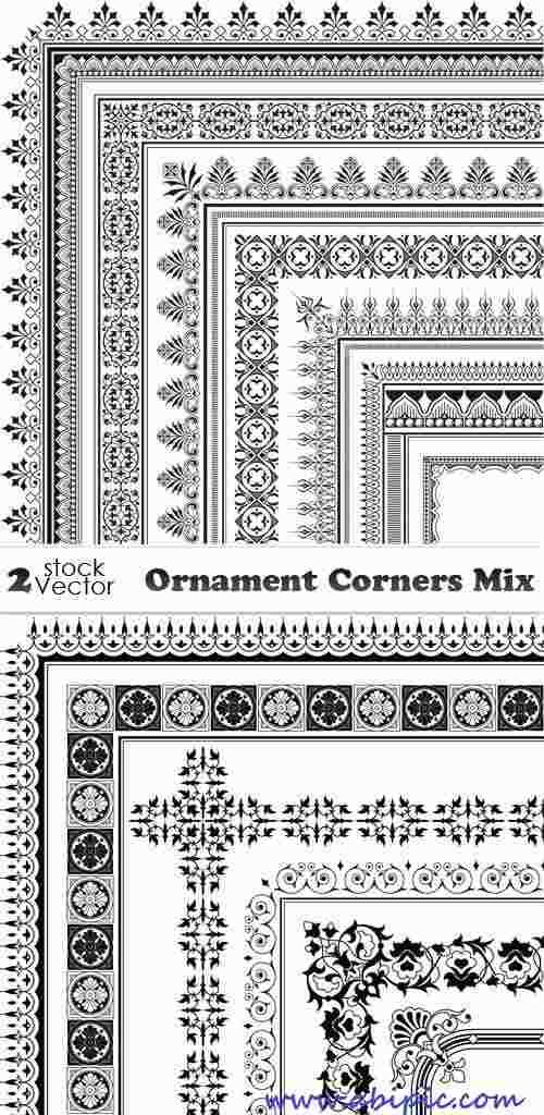 دانلود وکتور کادر و حاشیه طراحی شماره 12 Vectors - Ornament Corners