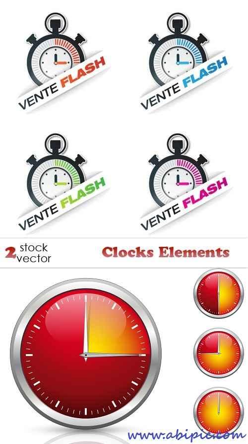 دانلود وکتور المان های ساعت، کرنومتر و زمان Vectors - Clocks Elements