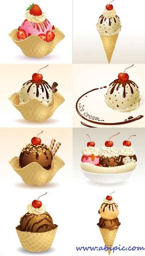 دانلود وکتور انواع مختلف بستنی Ice Cream Various Vector