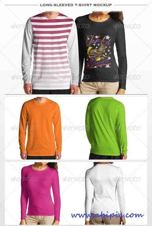 دانلود موک آپ تی شرت آستین بلند Long-sleeved T-shirt Mockup