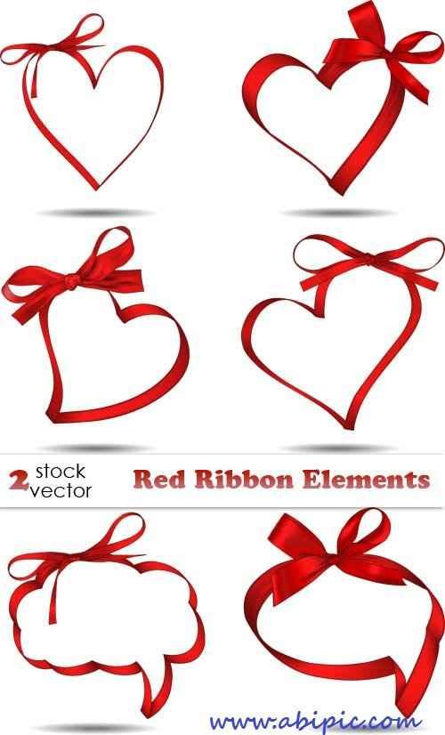 دانلود وکتور روبان قرمز به شکل قلب Vectors Red Ribbon Elements