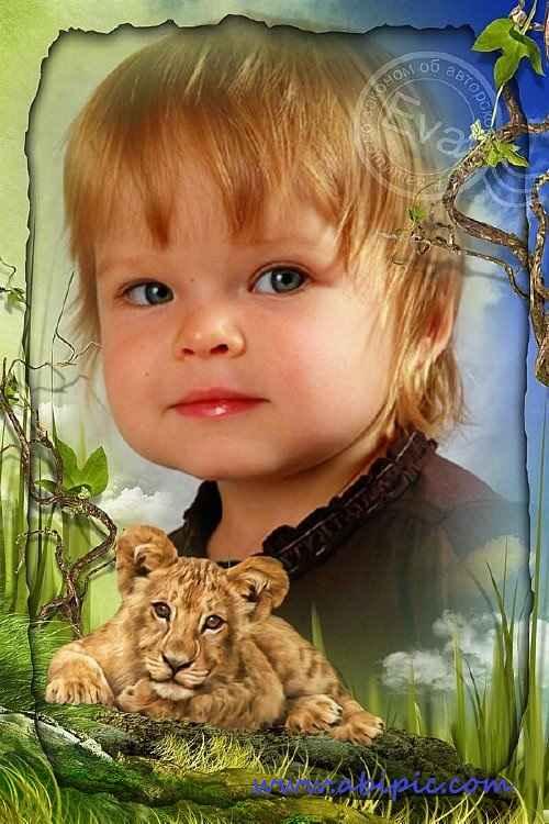 دانلود قاب عکس دیجیتال کودک با طرح شیر Child`s photo frame