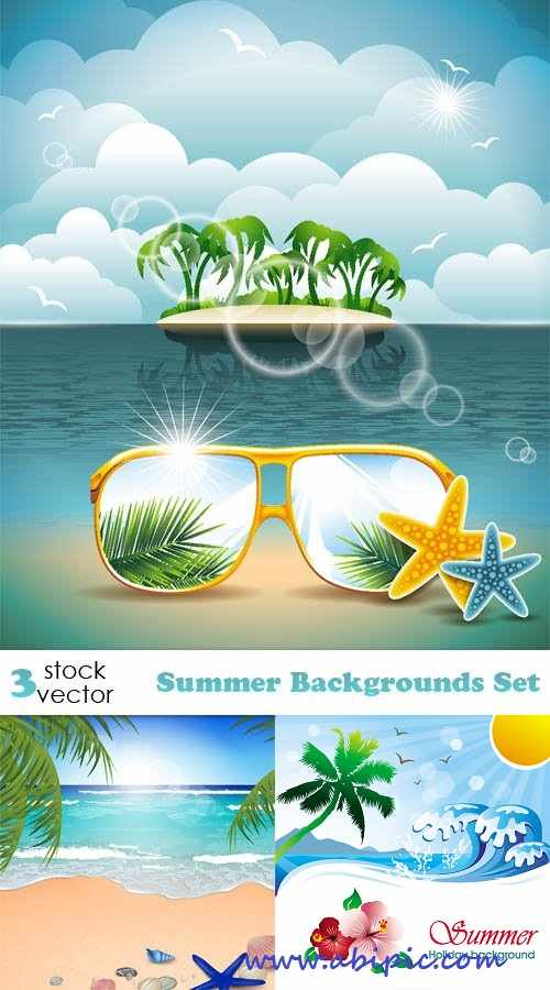 دانلود وکتور بک گراند تابستانه Vectors – Summer Backgrounds