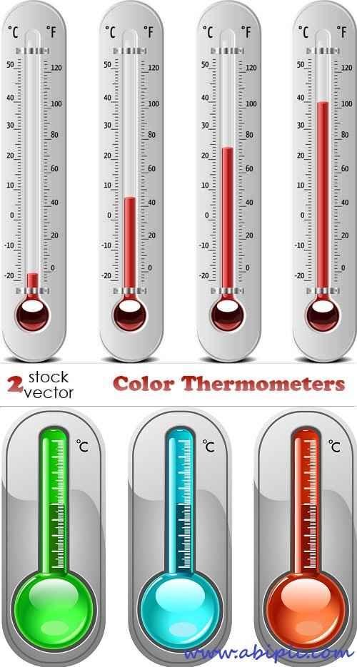 دانلود وکتور دماسنج Vectors - Color Thermometers