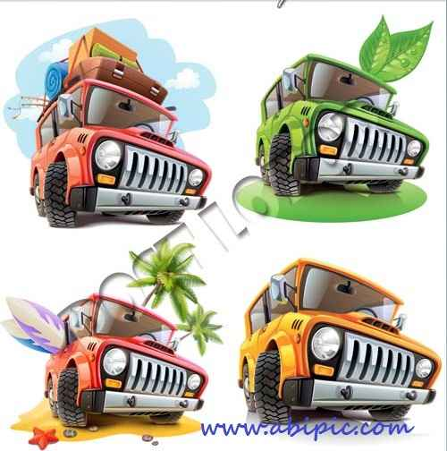 دانلود وکتور مسافرت و ماشین Summer vacation travel by car vector