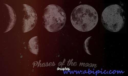 دانلود براش حالت های مختلف ماه شماره 3 ABR Brushes - Phases of the moon