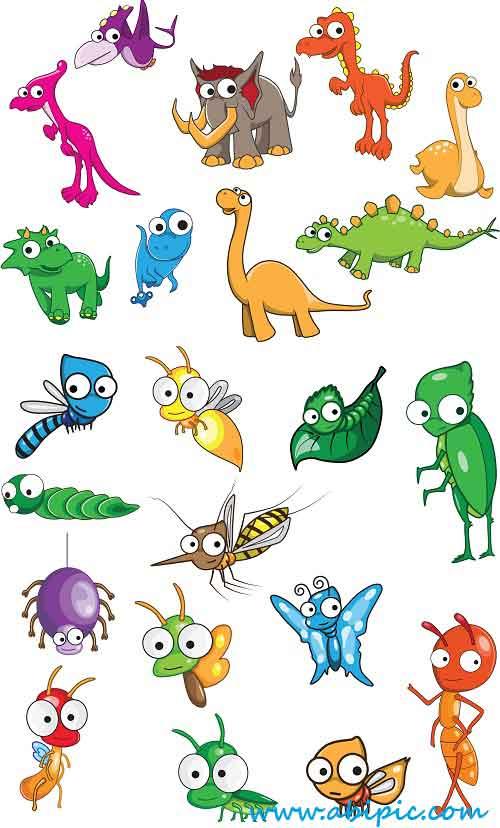 دانلود وکتور دایناسور و حشرات Vectors Dinosaurs and insects