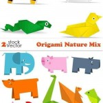 دانلود وکتور طرح اریگامی حیوانات و طبیعت سری 2 Vectors Origami Nature Mix