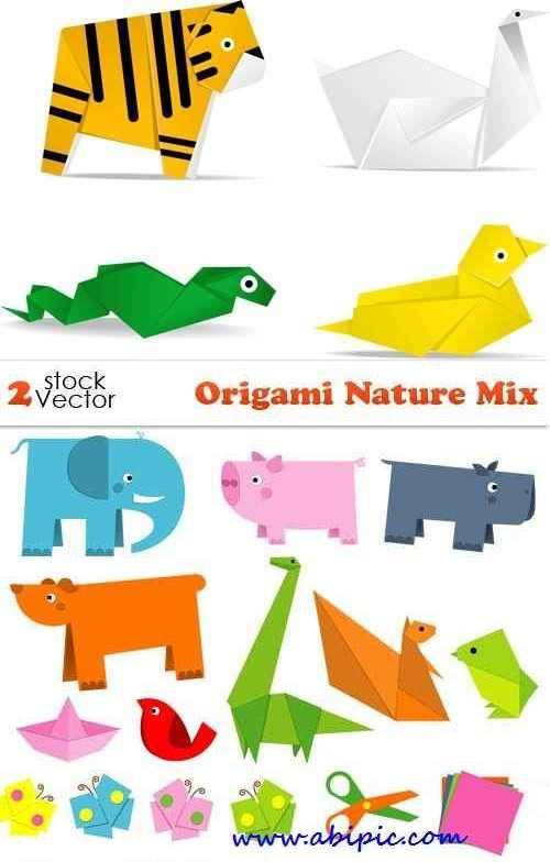 دانلود وکتور طرح اریگامی حیوانات و طبیعت Vectors Origami Nature Mix