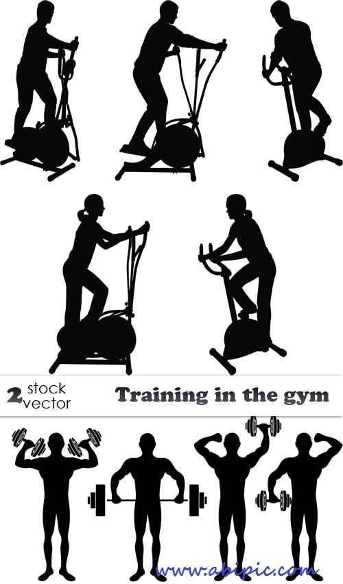 دانلود طرح وکتور ورزش در باشگاه بدنسازی Vectors Training in the gym