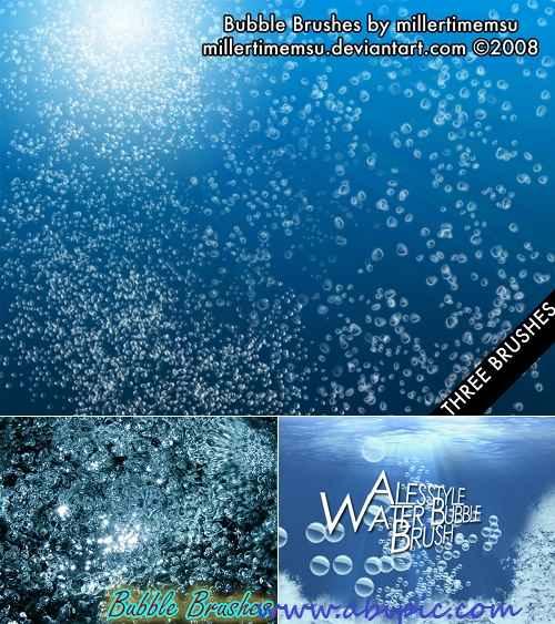 دانلود براش حباب زیر آب Water Bubbles Underwater Photoshop Brushes