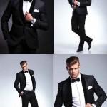 عکس استوک مرد در لباس رسمی میهمانی Man poses in tuxedo stock photo
