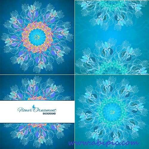 دانلود وکتور بک گراند فیروزه ای با نقوش گلدار Turquoise floral backgrounds