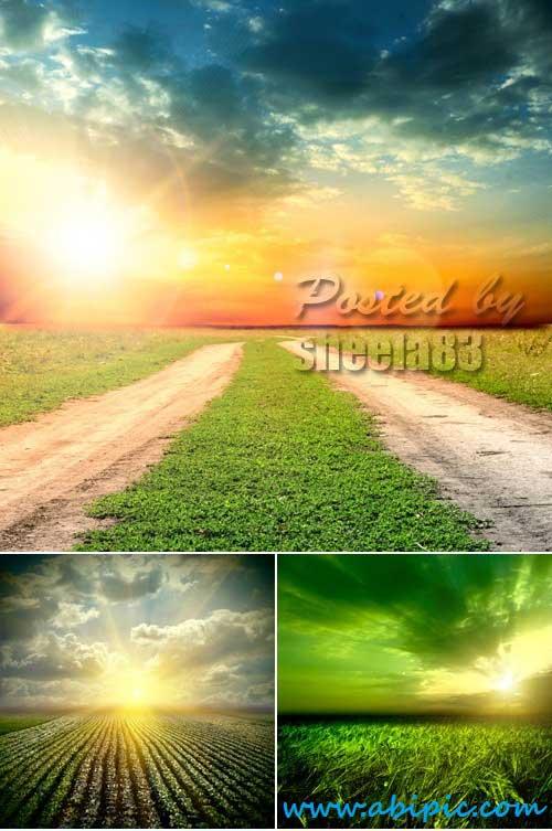 دانلود تصاویر استوک غروب آفتاب Stock Photo Sunset Nature Backgrounds