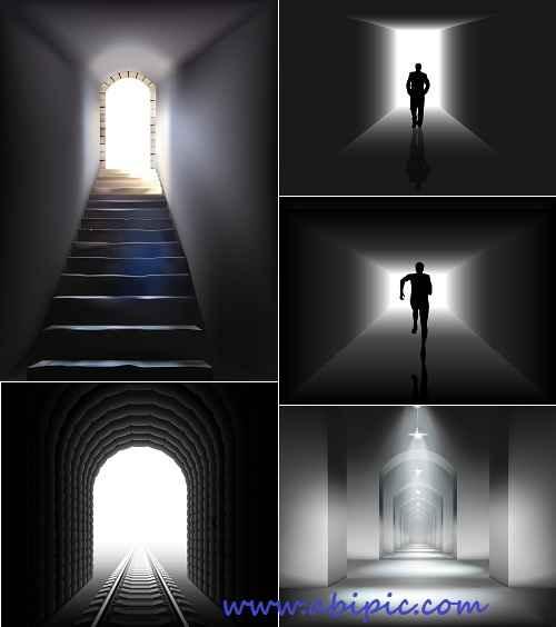 دانلود وکتور روشنایی در انتهایی مسیر و تونل Light at the end of tunnel