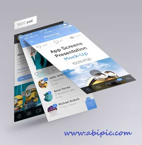 دانلود طرح موک آپ پیش نمایش یک نرم افزار Perspective App Screens Mock-Up