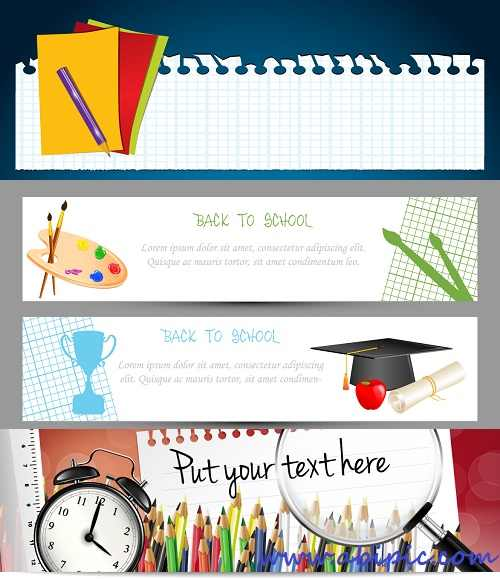 دانلود وکتور بنر با طرح مدرسه و تحصیل Vectors - Bright School Banners