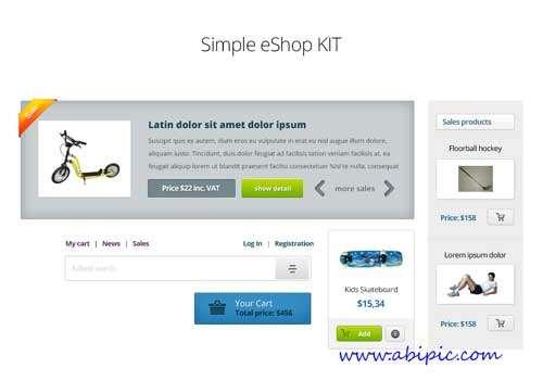 کیت طرح های لایه باز ساخت فروشگاه PSD Web Design Simple eShop Kit