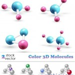 دانلود وکتور مدل های سه بعدی مولکول Vectors Color 3D Molecules