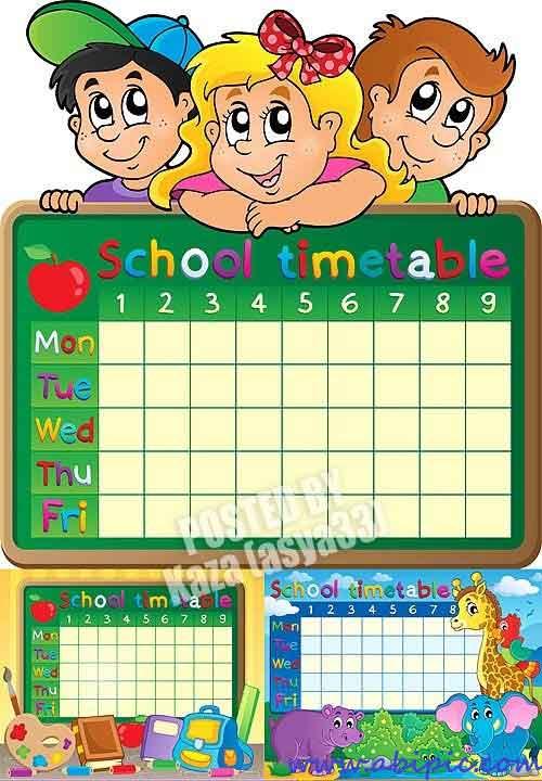 دانلود وکتور برنامه کلاسی با طرح کودکانه School timetable
