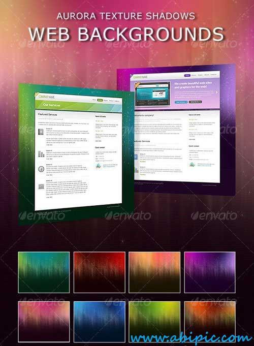 دانلود پس زمینه لایه باز نورانی طراحی سایت Aurora Shadows Web Backgrounds