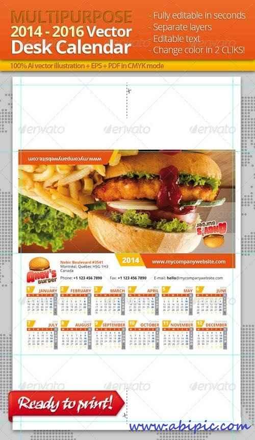 دانلود وکتور تقویم دیواری 2014،2015،2016 Multi-purpose Desk Calendar