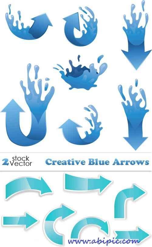 دانلود وکتور پیکان و فلش شماره 3 Vectors - Creative Blue Arrows