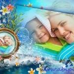 دانلود قاب عکس دیجیتال با طرح گل و دریا Photo frame – With family at sea