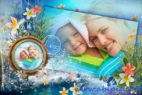 دانلود قاب عکس دیجیتال با طرح گل و دریا Photo frame - With family at sea