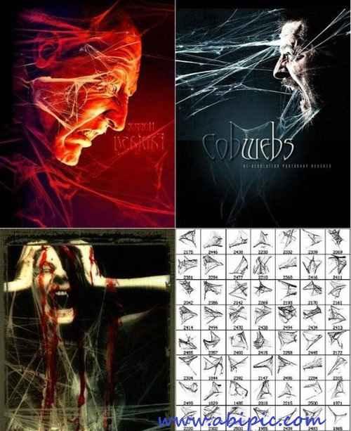 دانلود براش تار عنکبوت شماره 2 Brushes for Photoshop - Cobwebs