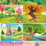 دانلود وکتور منظره و چشم اندازهای کارتونی زیبا Cartoon Landscape Vector