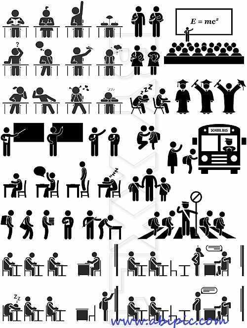دانلود وکتور پیکتوگرام آموزش و تحصیل People pictograms Education