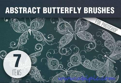 دانلود براش انتزائی پروانه Butterflies Abstract PS Brushes