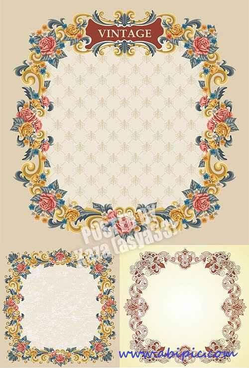 دانلود وکتور کادر و فریم گلدار شماره 4 Floral frames