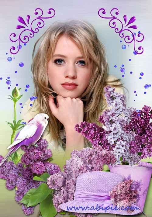 قاب عکس دیجیتال با طرح گل های یاس Photoshop Frame fragrant lilacs