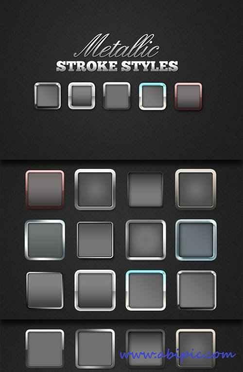 دانلود استایل فتوشاپ متالیک Metallic Stroke Photoshop Styles