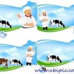 دانلود وکتور با موضوع لبنیات Breeding dairy cattle – vector clipart