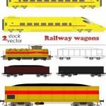 دانلود وکتور واگن و لوکوموتیو قطار Vectors – Railway wagons