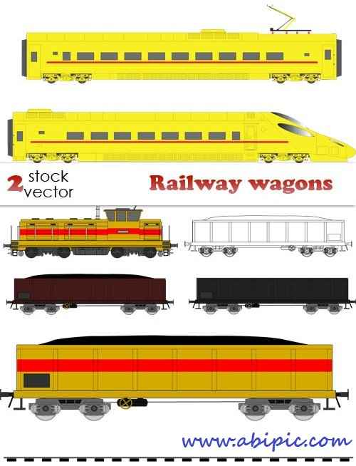 دانلود وکتور واگن و لوکوموتیو قطار Vectors - Railway wagons