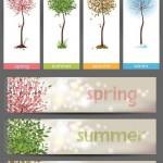 دانلود وکتور بنر 4 فصل با طرح درخت Seasons banners and vector tree