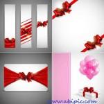 دانلود وکتور بنر با روبان قرمز Banners with red ribbons
