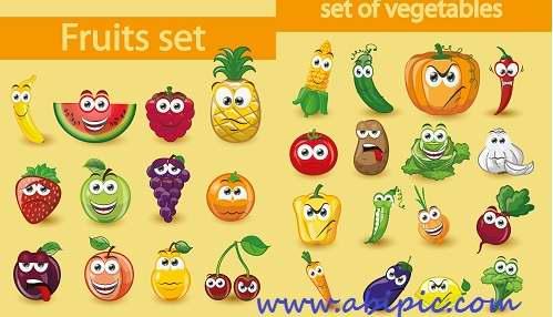 دانلود وکتور شاد و بامزه از سبزیجات و میوه ها Funny fruits & vegetables