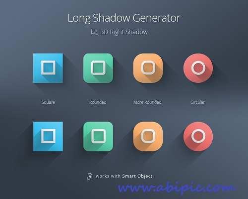دانلود طرح لایه باز ساخت سایه Long shadow Generator Psd