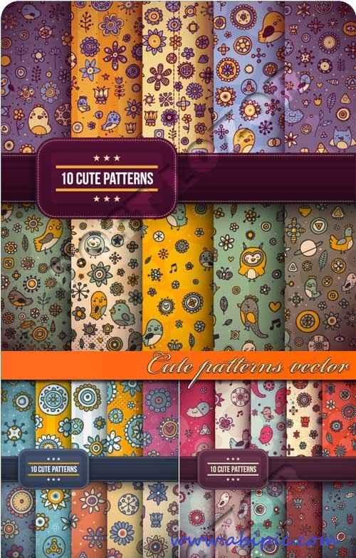 دانلود وکتور پترن های شاد و زیبا Cute patterns vector