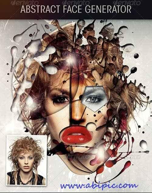 طرح لایه باز ساخت عکس آبسترکت از عکس پرتره Abstract Face Effect Generator