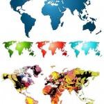 دانلود وکتور رنگی نقشه جهان Color map vector